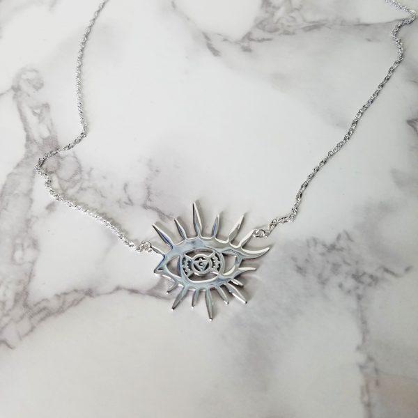 Solar Eye Necklace - White Gold
